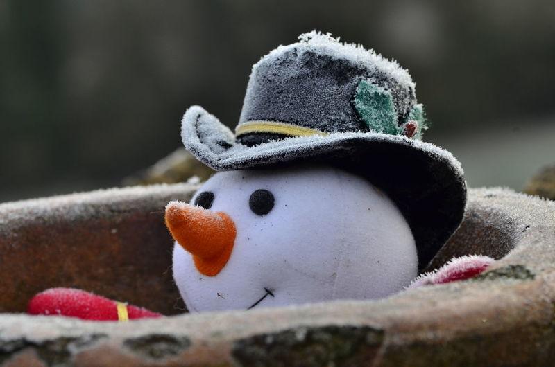 Close-up of a snowman