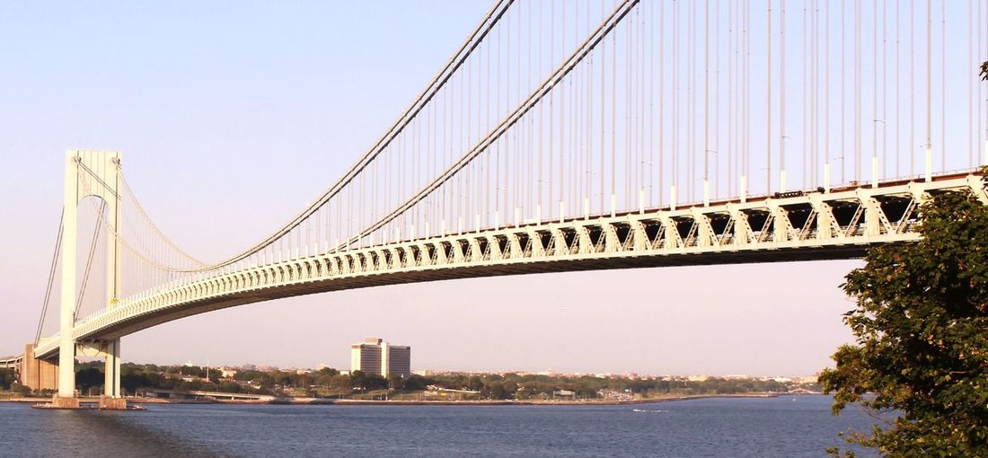 Low angle view of verrazano bridge