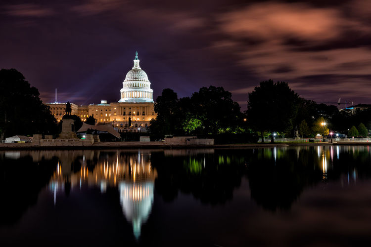 Early Morning Shots of the US Capitol US Capitol Building Architecture Building Exterior Built Structure City Cloud - Sky Dome Government Illuminated Nature Night No People Outdoors Reflection River Sky Sony A7riii Tourism Travel Destinations Water Waterfront
