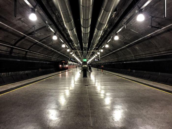 Train arriving at subway station