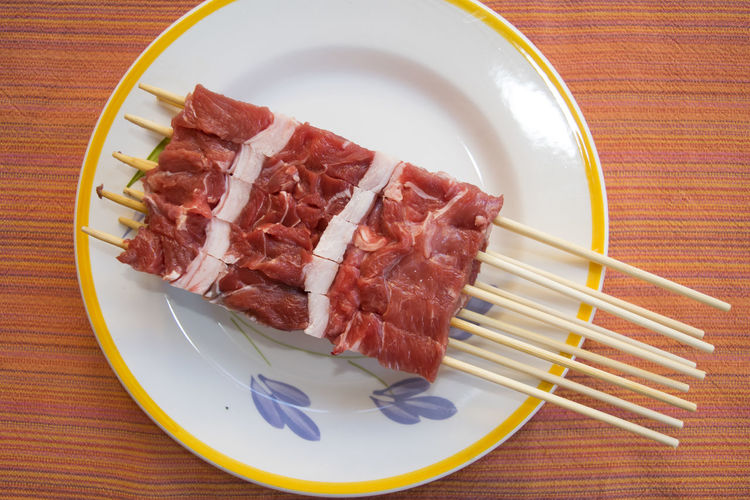 abruzzesi arrosticini Arrosticini Arrosticini Abruzzesi Chunk Meat Raw Sheep Skewers Spit