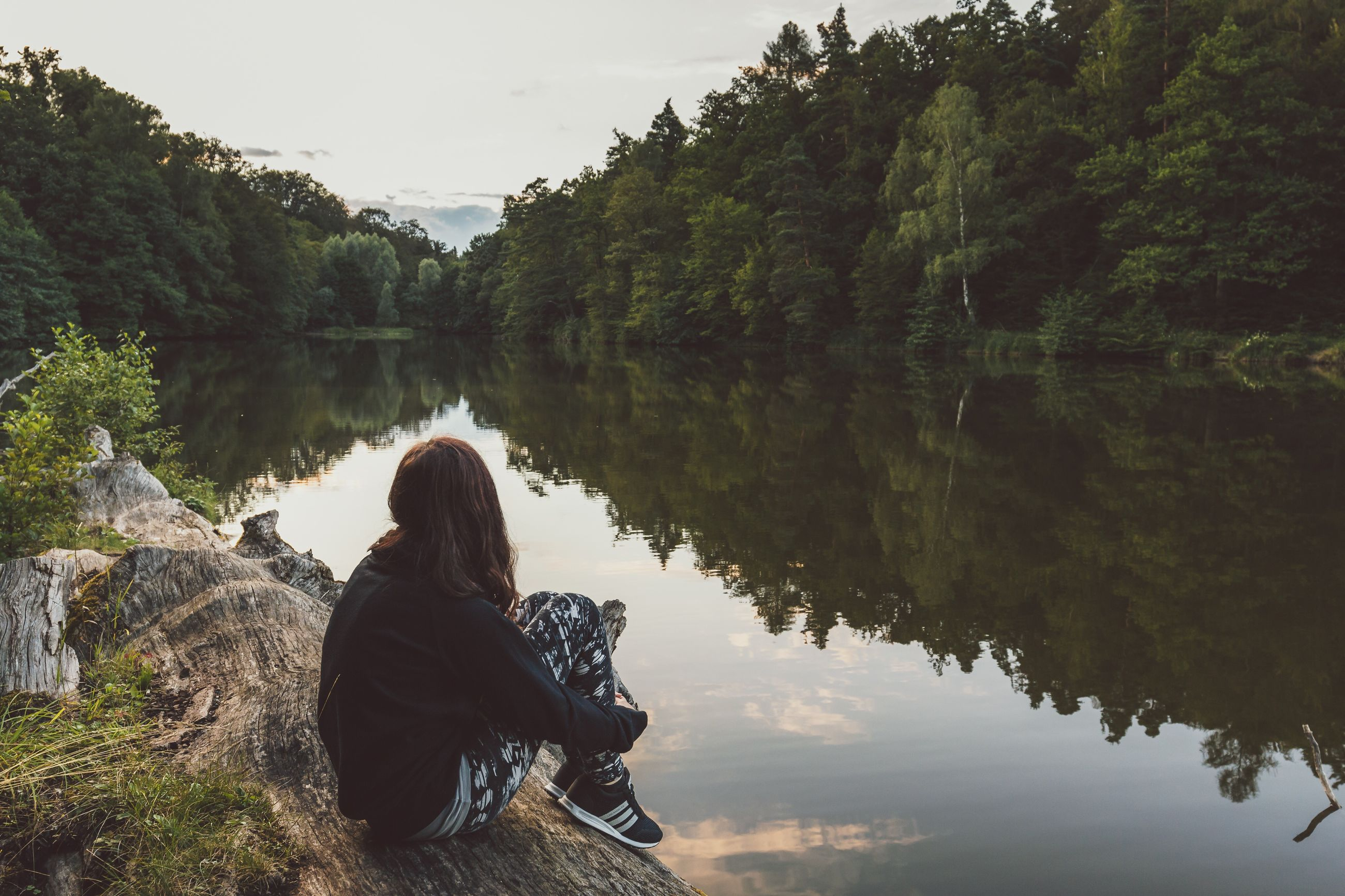 water, lake, tree, tranquility, tranquil scene, reflection, nature, sitting, beauty in nature, scenics, leisure activity, lifestyles, relaxation, sky, lakeshore, idyllic, outdoors, plant, day, non-urban scene, calm, remote, growth, non urban scene