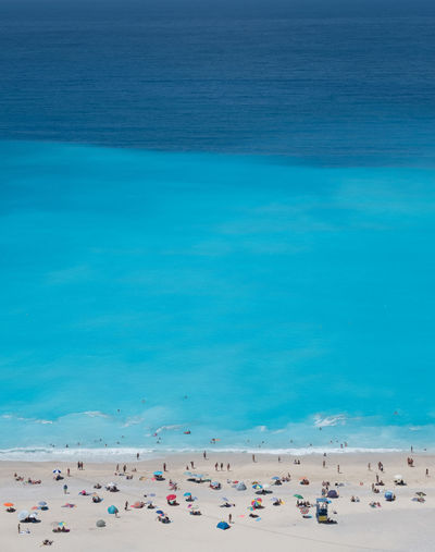 myrtos. Florianjung Greece Cephalonia Myrtos Beach Tricolor Birds Eye View Water Sea Beach Blue Pastel Colored Sand Swimming Coastline Coast Turquoise Colored Beach Umbrella Seascape Wave Coastal Feature EyeEmNewHere