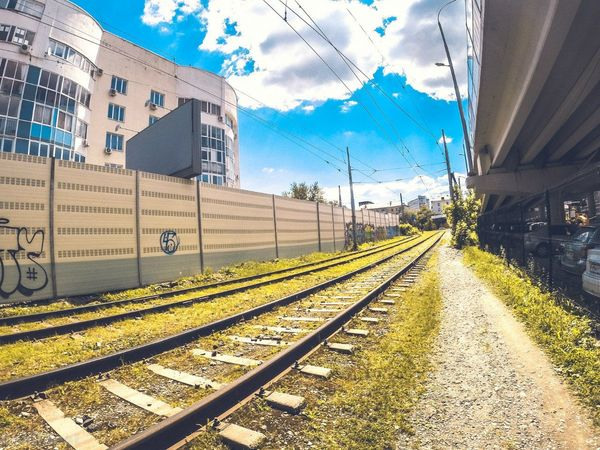 Railroad Track Rail Transportation Transportation Cloud - Sky Sky Outdoors No People Day City Building Exterior Architecture