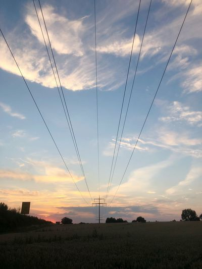First Eyeem Photo Cloud - Sky Sunset Sky Nature Beauty In Nature No People Field Tranquility Tranquil Scene Landscape Environment Scenics - Nature Land Cable Plant Connection Idyllic Silhouette Growth Outdoors 17.62°