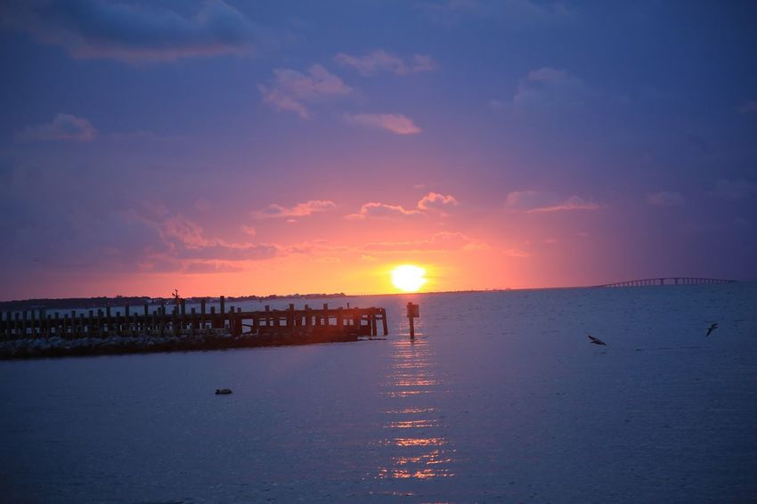Mobile Bay Alabama Fort Morgan Ocean Clouds Pier Pelican Sky Sunset Water Scenics - Nature Sea Beauty In Nature Tranquility Nature Sun Beach Tranquil Scene Land Idyllic Sunlight Cloud - Sky Architecture Orange Color Horizon No People Horizon Over Water