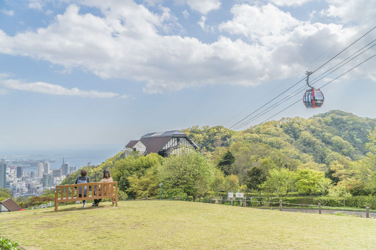 Ropeway Cloud - Sky Sky Plant Tree Nature Day Architecture Built Structure Land Cable Cable Car Beauty In Nature Transportation Green Color Building Exterior Field Overhead Cable Car Grass Mode Of Transportation Water Outdoors No People Electricity