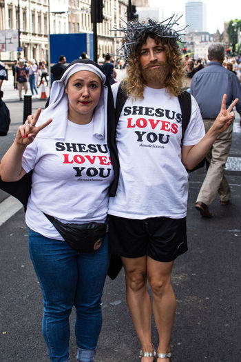 The Return Of Shesus - March Against Trump The Street Photographer - 2018 EyeEm Awards The Photojournalist - 2018 EyeEm Awards The Portraitist - 2018 EyeEm Awards Protesting Dump Trump Anti Trump Protestor March Against Trump Malephotographerofthemonth City Politics And Government Portrait Women Young Women Text City Street Protestor Human Rights Protest Democracy
