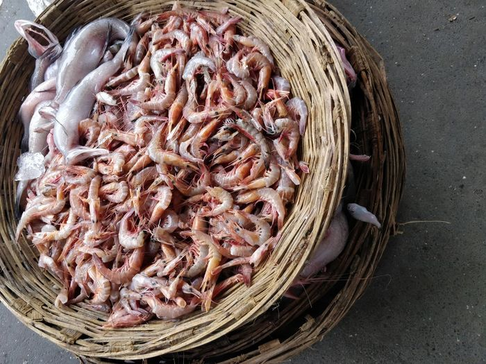 High angle view of fish in basket for sale