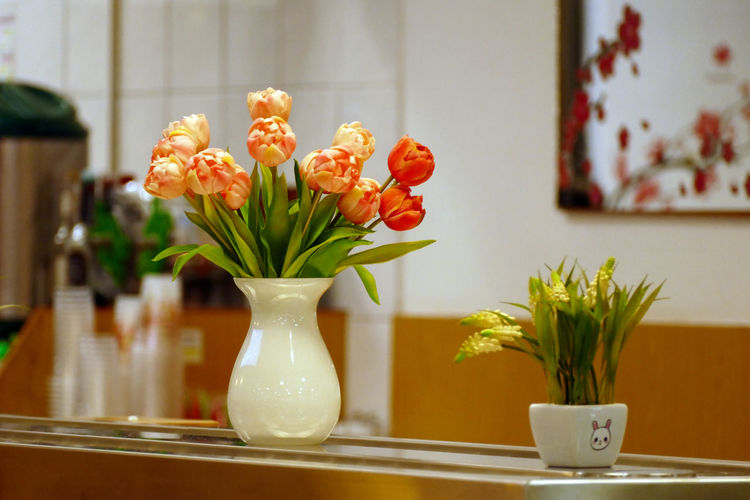 Close-up of tulips in vase on table at home