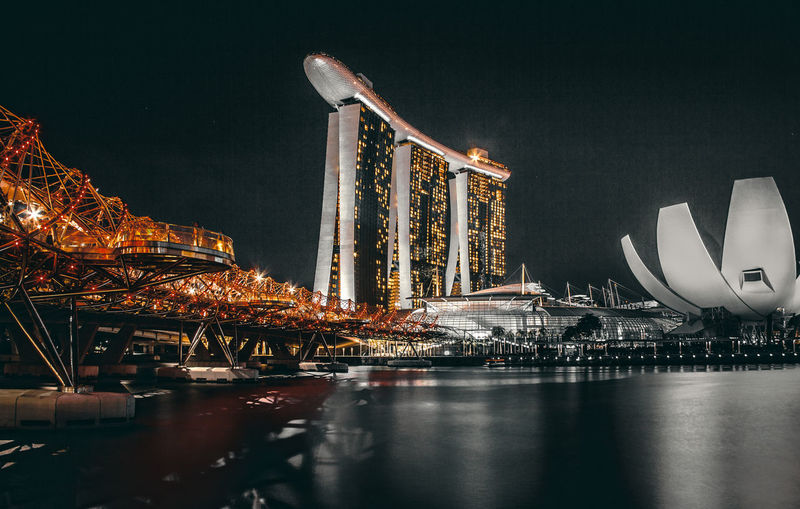 Marina Bay Sands, Singapore Architecture Built Structure Water Building Exterior Night Illuminated Waterfront Sky No People City Nature River Outdoors Reflection Travel Destinations Transportation Travel Bay Luxury Marina Bay Sands Singapore Singapore Nightscape