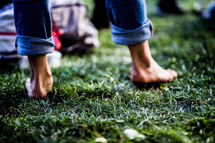 Barefoot in the park barefoot Concert Grass Human Foot Low Section Nature Outdoors Real People