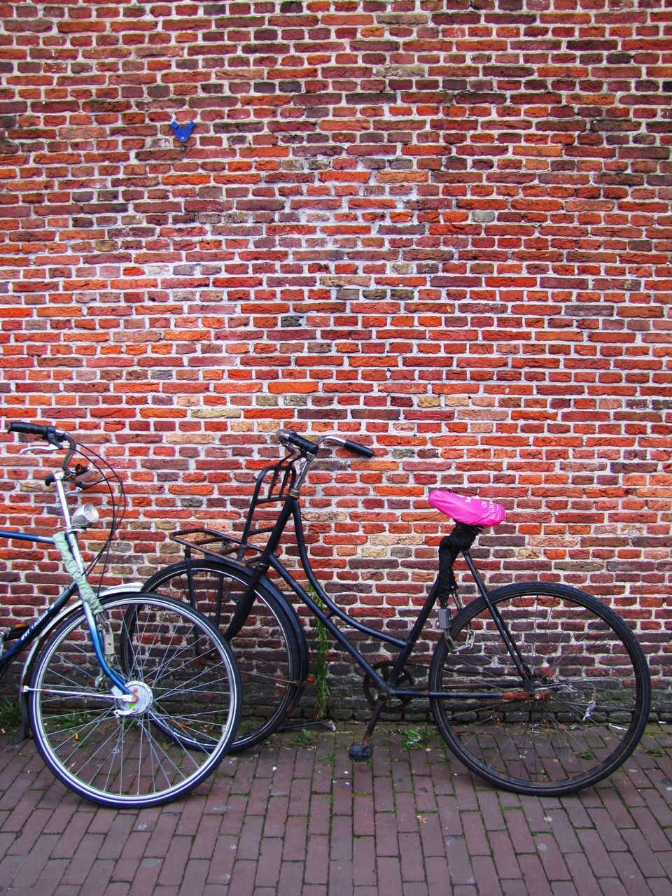 bicycle, transportation, brick wall, mode of transport, stationary, land vehicle, wall - building feature, day, outdoors, no people, leaning, bicycle rack, built structure, building exterior, architecture, city