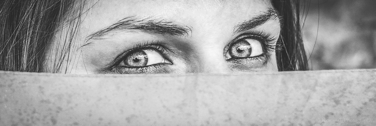 Black & White Close Up Portait Photography Women Eyes Watching You Eyes On YOU!!
