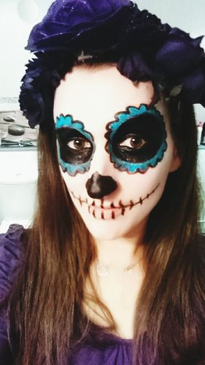 Calavera  Sugarskull Woman Woman Portrait Face Paint Only Women Looking At Camera Portrait Young Adult Halloween Spooky Skull Face Skulls💀 Calaverita Calaveracollection Selfie ✌