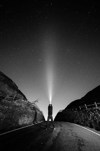 Sky Stars Beam Beam Of Light Man Lone Figure Alone Universe Starry Sky