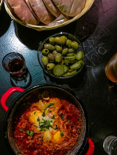 African Food Budapest, Hungary Homemade Food Vegetarian Food Vegetarianlife Bowl Bread Food Food And Drink Food Photography Foodphotography Freshness Healthy Eating High Angle View Indoors  Israel Israeli Food Olives Pickles Ready-to-eat Schnaps Shakshuka Simple Food Vegetarian Lifestyle  Xoxo