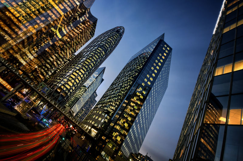 Architecture Blue Building Exterior Building Story Built Structure Capital Cities  City City Life Development Famous Place Growth Illuminated International Landmark La Défense Low Angle View Modern Office Building Outdoors Sky Skyscraper Tall Tall - High Tourism Tower Travel Destinations HUAWEI Photo Award: After Dark