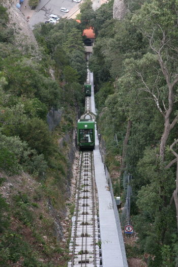 Funicular descends on the mountain of Montserrat Funicular Funicular Railway Travel Traveling Transportation Tree Railroad Track Green Color Rail Transportation Railway Bridge Public Transportation Railway Track Railway Station Railway Railway Station Platform Railroad Platform Moving Tram Tramway My Best Travel Photo My Best Travel Photo It's About The Journey Stay Out