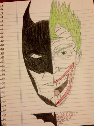 Batman First Time Half Face Darkness And Light Evil And Goodness