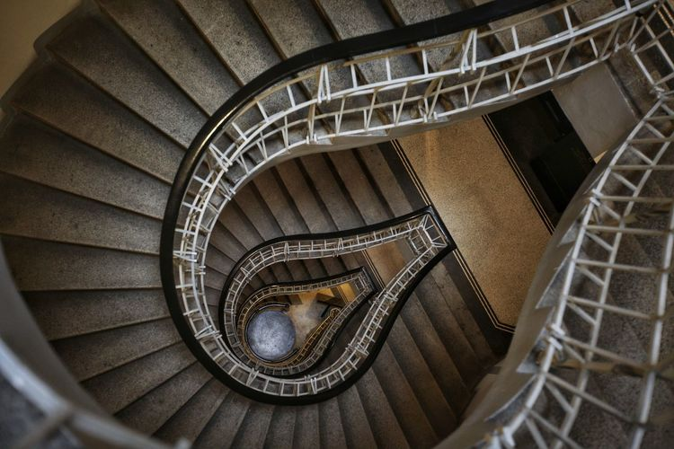 Spiral Staircase Hand Rail Stairs Spiral Stairs Steps And Staircases Spiral Steps High Angle View Staircase Railing Circle Geometric Shape vanishing point