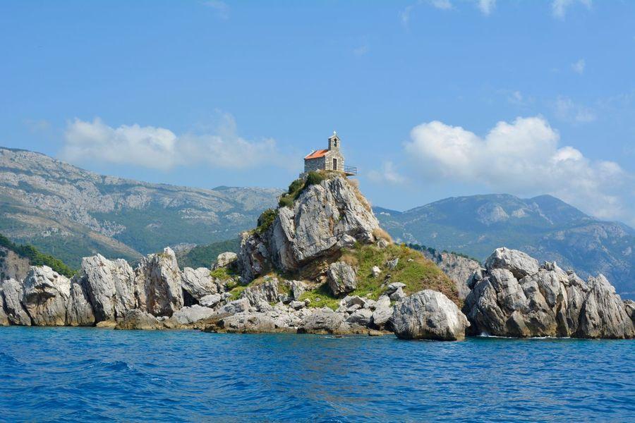 Church Mediterranean  Nikon D5200 Adriatic Sea Beauty In Nature Boat View Cloud - Sky Day Middle Of Sea Mountain Nature No People Outdoors Rock - Object Scenics Sea Sky Water Summer Exploratorium The Traveler - 2018 EyeEm Awards