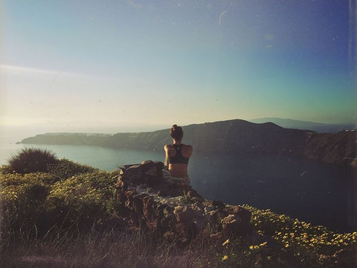 The Great Outdoors - 2017 EyeEm Awards Nature Scenics Real People Standing One Person Leisure Activity Beauty In Nature Outdoors Mountain Sitting Water Tranquility Day Lifestyles Women Sky Sea Full Length Landscape Young Women