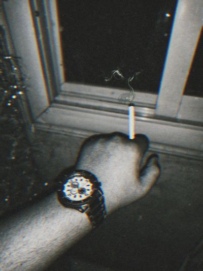 High angle view of human hand at home