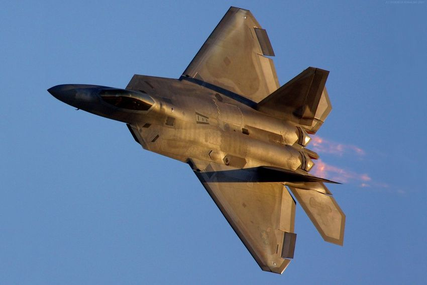 Afterburner Air Force Aircraft Clear Sky Day F-22 F-22A Raptor Fighter Flying Gold Golden Hour No People Outdoors Plane Raptor Sky Sunset US Air Force USAF