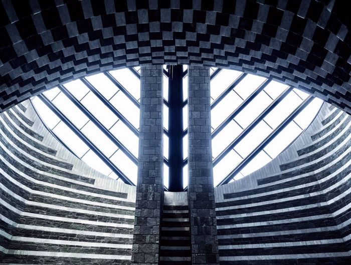 Pattern, Texture, Shape And Form San Giovanni Battista Architecture And Art Mario Botta Architectural Detail Geometric Shape Symmetry Modern Architecture Church Architecture Church Religion Built Structure Architecture Low Angle View Pattern Indoors  Day No People Building Geometric Shape Architectural Feature Directly Below