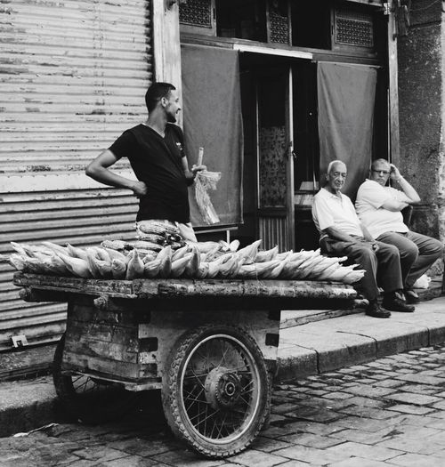 Archival Adults Only Food Bread Outdoors Only Men People Day Adult Blackandwhite Streetphotography Streetfood Men