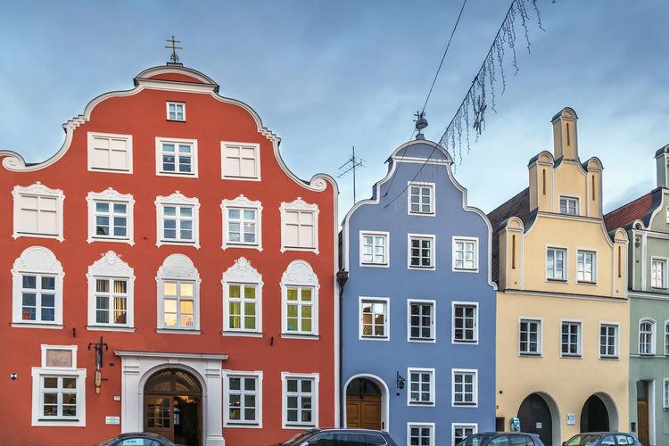 Historical houses on neustadt street in landshut, germany
