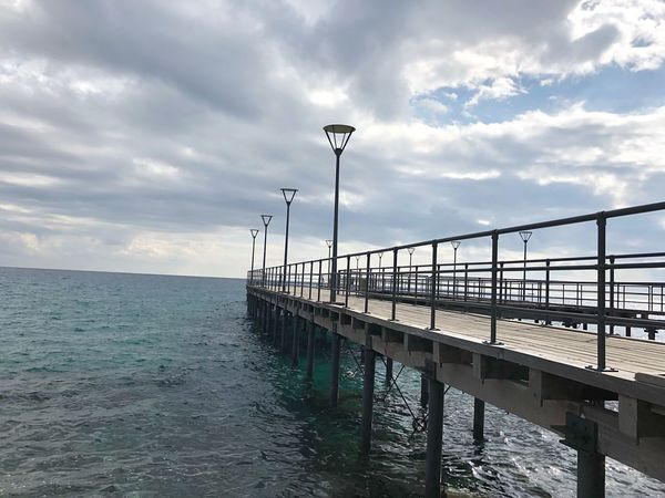 Art Beauty Clouds Wharf Pier Lines Shapes Street Light Harbor Cloud - Sky Sky Water Street Light Nature Railing Sea Street Lighting Equipment Scenics - Nature Beauty In Nature No People Tranquility Tranquil Scene Architecture Built Structure Day Pier Outdoors