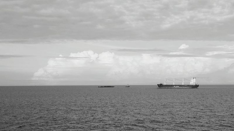 Ship Port Marine Bulkcarrier Sea And Sky Tugboat Monochrome Photography