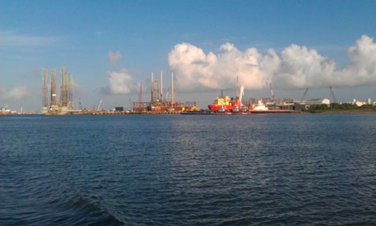industry, sea, cloud - sky, sky, waterfront, water, oil industry, factory, blue, no people, smoke stack, outdoors, day, nature, business