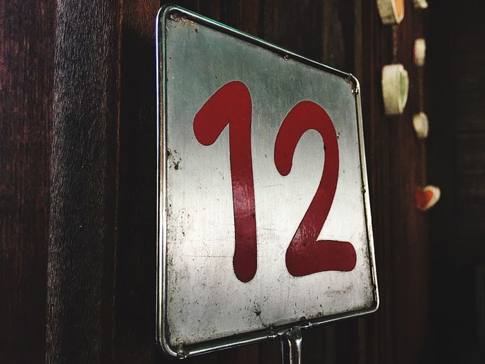 Close-up of numbers on metal placard
