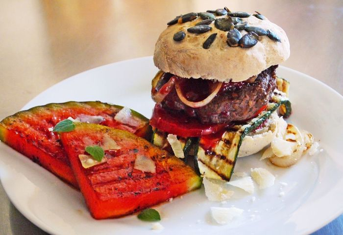 Appetizer Black Angus Burger Close-up Food Food And Drink Freshness Garnish Grilled Burger Grilled Fruits Grilled Watermelon Handmade By Me Healthy Food Healthy Lifestyle Indoors  Indulgence No People Plate Ready-to-eat Selective Focus Served Serving Size Still Life Tasty Temptation Zucchini