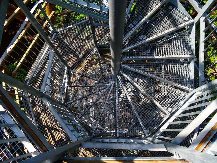 Acrophobia Architecture Badacsony Built Structure Day High Altitude High Tower Hungary Kisfaludy Kilátó Kisfaludy Look Out Tower Let's Go. Together. Lookout Tower Low Angle View Metal Modern Multilevel No People Outdoors Snail Stairs Spiral Stairs Stairs Tree Wood 10