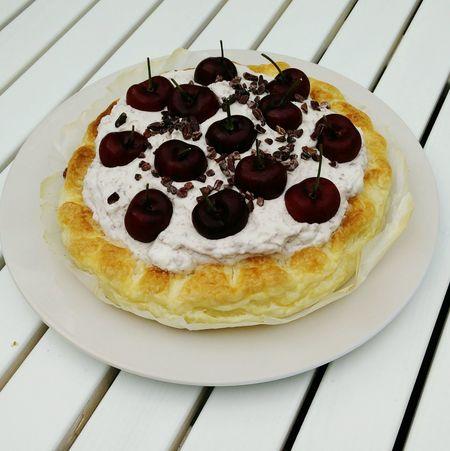 Cherry Cheese Cake Fresh Fruit Cherries Cheesecake made with Home Made Cherry Liqueur Tasty