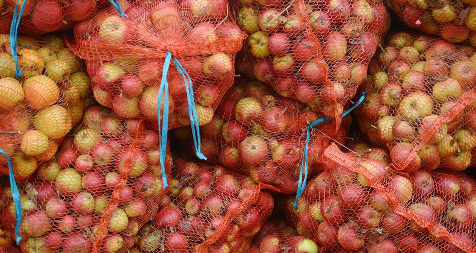 industrial apples Apple Industrial Industry Mesh Apple Fruit Bag Food Industry Fruit Harvest Processing Ripe Apple