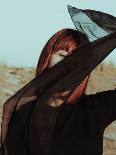 Young Women Women Headshot Individuality Close-up Sky Posing Dyed Red Hair Obscured Face Face Redhead Hiding