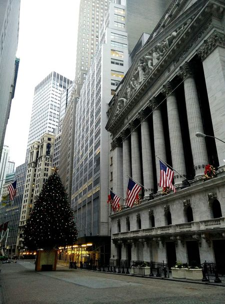 Seeing The Sights Early Morning New York Stock Exchange  Quite Moments American Flags Christmas Tree Hello World Cobblestone Streets Buildings Structures