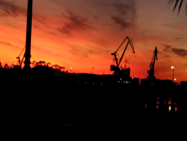 Puerto Sunset Silhouette Sky Cloud - Sky Nature City Shipyard