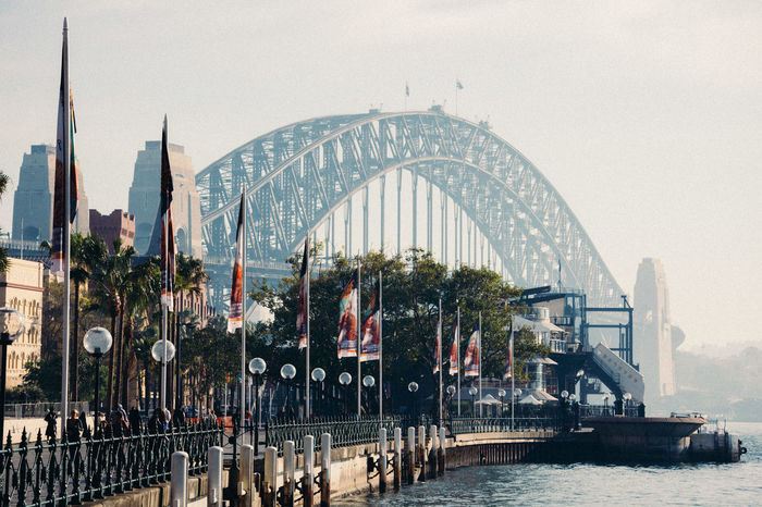 Arch Architecture Australia Bridge - Man Made Structure Built Structure Capital Cities  City City Life Day Engineering Famous Place Fog Lifestyles Mixed Age Range Outdoors River Sky Sydney Tourism Tourist Travel Destinations