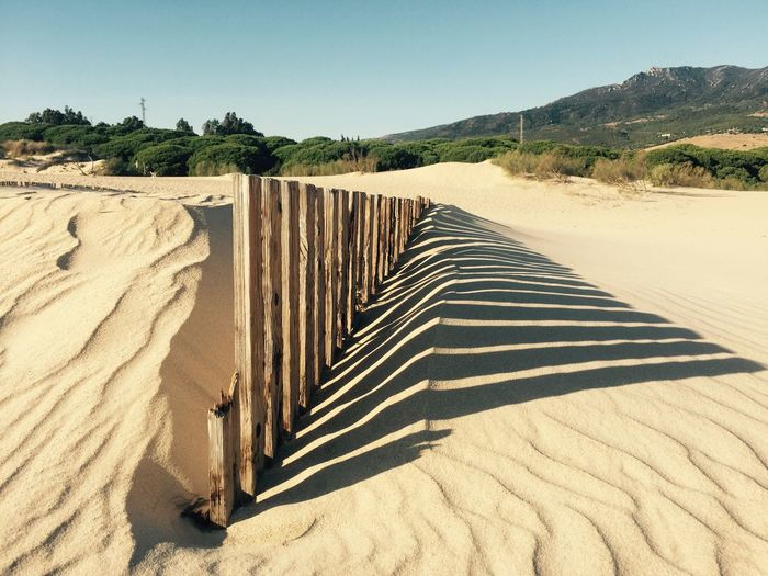 Shadow of wooden fence on sandy beach during sunny day