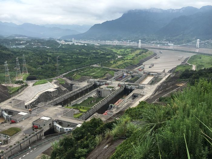 Adapted To The City Architecture Three Gorges Dam Dam River Yangtze River Changjiang Changjiang Bridge Nature Outdoors Built Structure Day Sky Tree Water