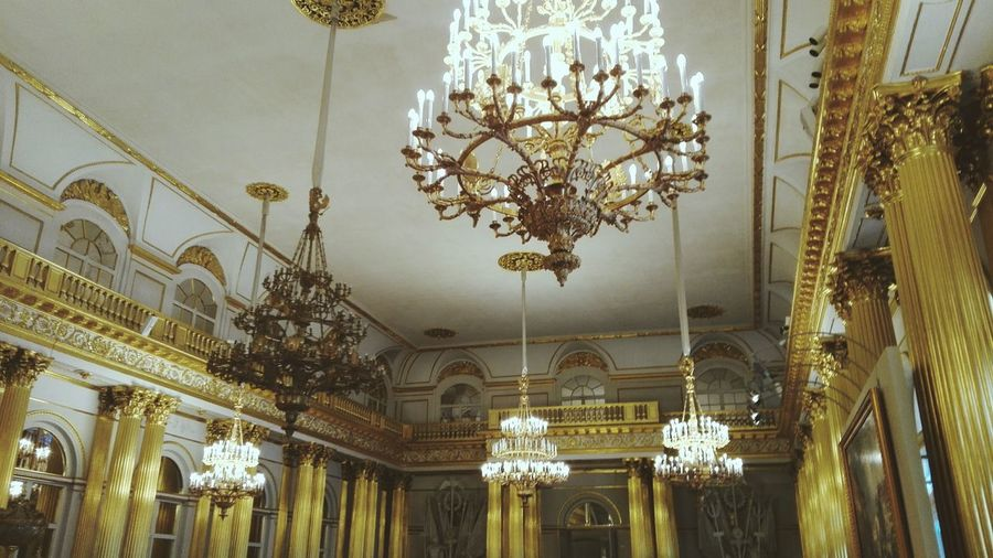 Stpeterburg Ornate Decoration Ceiling Lighting Equipment Design Arts Culture And Entertainment Luxury Indoors  Low Angle View No People Hanging Pattern Carousel Illuminated Built Structure Architecture Day