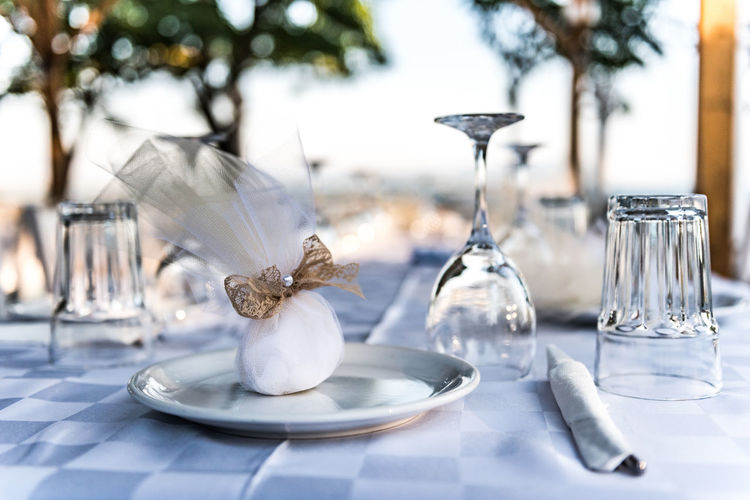 Close-up of dining table during wedding
