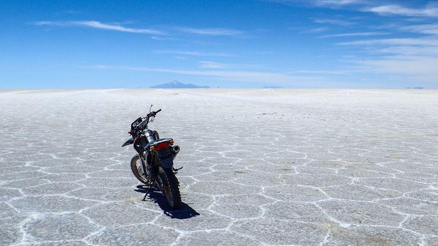 Long way around Travel Motorcycle Motorbike Sunny Salt White Sky Blue Salt flat Clear Bolivia