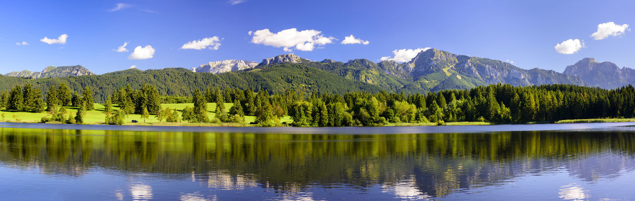 symmetric reflection in water of beatiful landscape with alps mountains in region Allgäu in Bavaria Allgäu Bavaria Nature Panorama Panoramic Rural Rural Scenes Alps Forggensee Germany Lake Lake View Mirror Reflection Mirroring In Water Mountain Mountain Range Panoramic Landscape Reflections In The Water Rural Landscape Rural Scene Scene Summer Symmetry Water Wide Angle